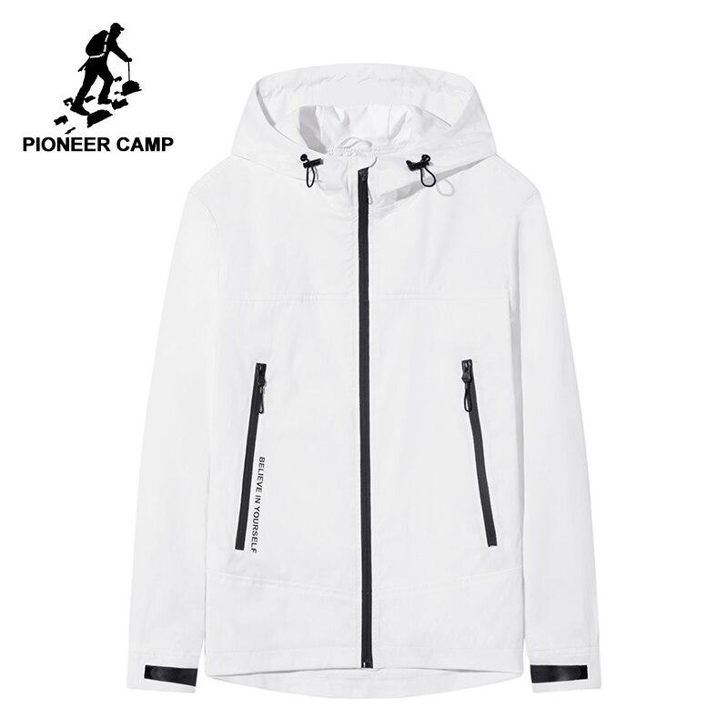 Pioneer camp New branco preto mens jaqueta moda casaco com capuz jaqueta de primavera para os homens qualidade impressa outerwear masculino casaco AJK802060
