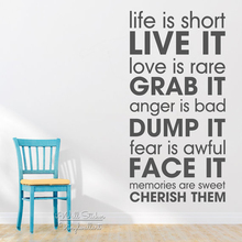 Life Is Short Quotes Wall Decal Motivational Sticker DIY Vinyl Lettering Inspirational Cut Q228