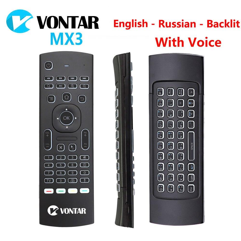 Retroilluminata retroilluminazione Russo MX3 air mouse Vocale Inglese MX3 2.4G Tastiera Senza Fili di Telecomando IR Learning Per Android TV Box
