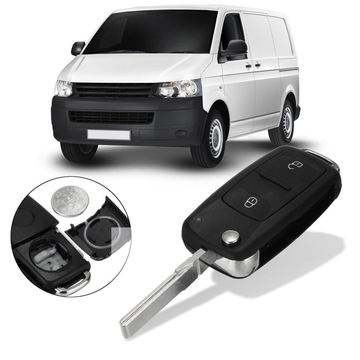 2 Buttons Lock Unlock Entry Car Remote Key FOB Case w/ Battery Replacement For VW Transporter T5 Polo GOLF Polo