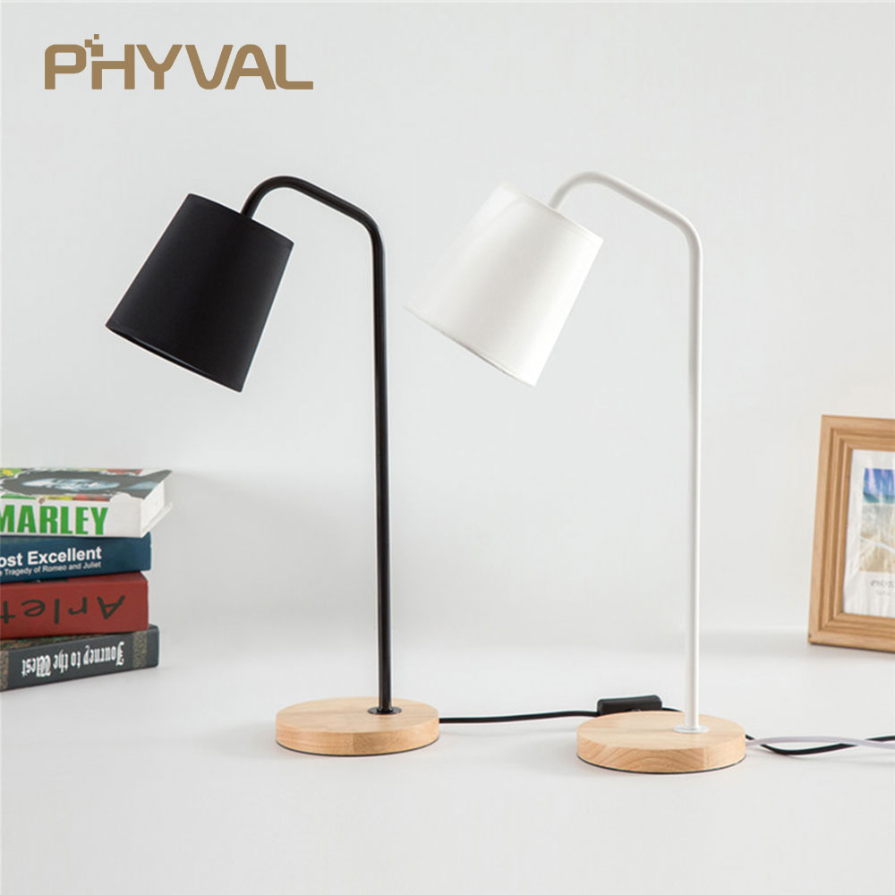 Table Lamps for Bedroom Beside Lamp LED Desk lights Nordic Simple Bed Lamp Wood Lights Table lamps for Living room Night Lights simple solid wood desk lamp table lamps bedroom atmosphere lamp nordic style decorative lighting lamp