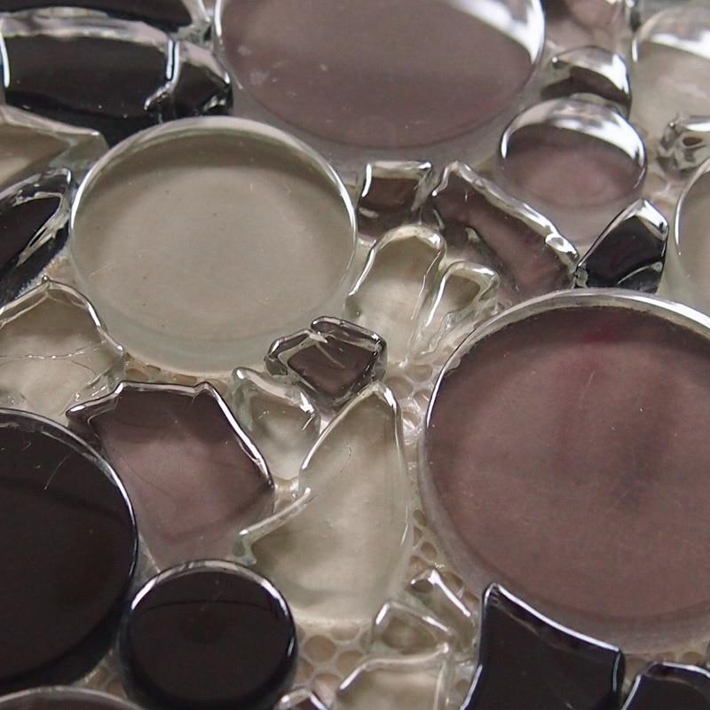 Zwart mix kleur cirkel kristal glasmozaïek tegel voor keuken ...