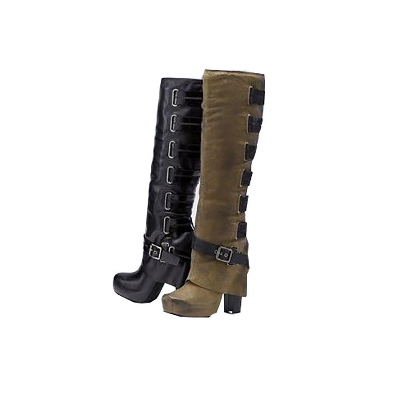 Winter Knee High Boots Fashion Women Lace Up Riding Boots Chunky High Heel Boots Buckle Woman Round Toe Layer Shoes Big Size 43 new women dress shoes knee high boots woman round toe high heels autumn winter long boot hot fashion riding boots big size 35 43