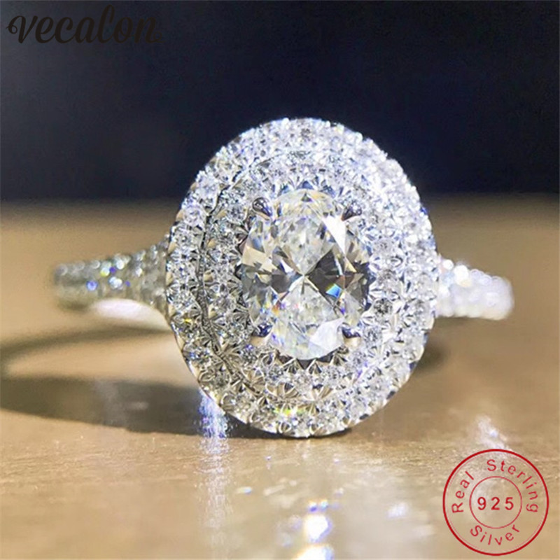 Vecalon Romantic Real Soild 925 Sterling Silver ring oval cut 1ct Sona 5A Zircon Cz Engagement wedding Band rings for women Gift-in Engagement Rings from Jewelry & Accessories on Aliexpress.com | Alibaba Group