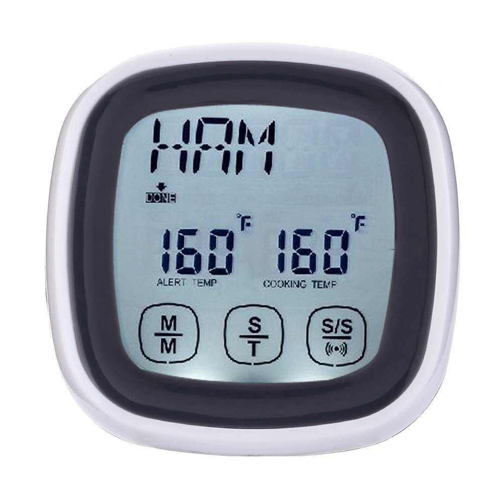Touchscreen LCD Digital Meat Cooking BBQ Oven Food Kitchen Probe Thermometer and Timer with Alarm Sounds Tool #LO 1 7 lcd thermometer with timer for kitchen