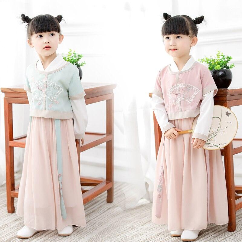 Filles hanfu robe moderne style chinois vêtements rétro vintage classique tang costume vêtements anciens enfants automne printemps motifs ethniques
