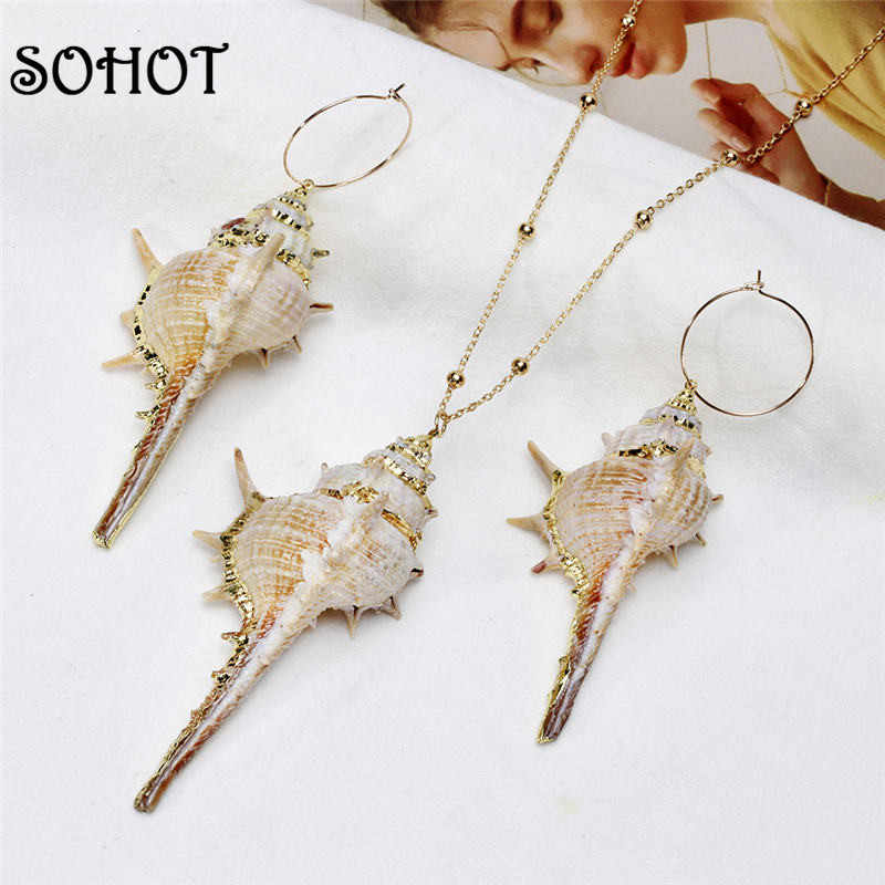SOHOT BOHO Real Cowrie Shell Conch Pendant Women Jewelry Set Exquisited Alloy Dangle Necklace Hoop Earrings For Wedding Bijoux