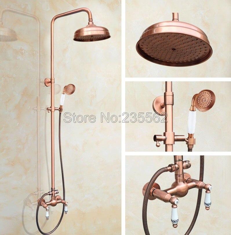 Bagno 8 pollice precipitazioni soffioni per doccia rame rosso antico finitura parete pioggia rubinetto doccia set in ceramica maniglie tap lrg554