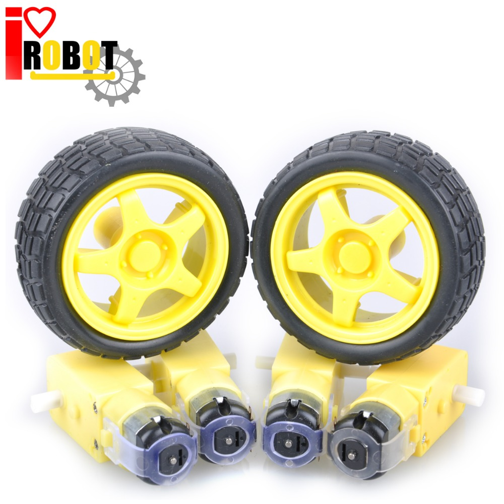 roroup 48:1 Plastic DC Drive Gear Motor wheel Tyre Tire For Smart Robot Car wheels 8pcs/4set High Quality Free shipping #RBP001