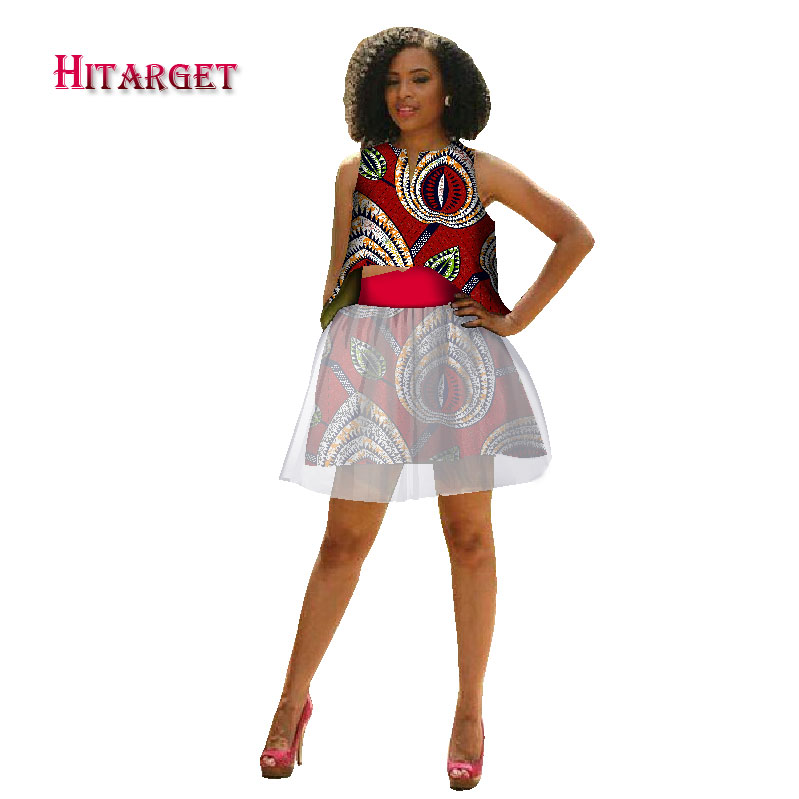 New African Hitarget private custom african clothes top skirt suit for women knee length sleeveless batik Kanga Clothing WY1761 in Africa Clothing from Novelty Special Use