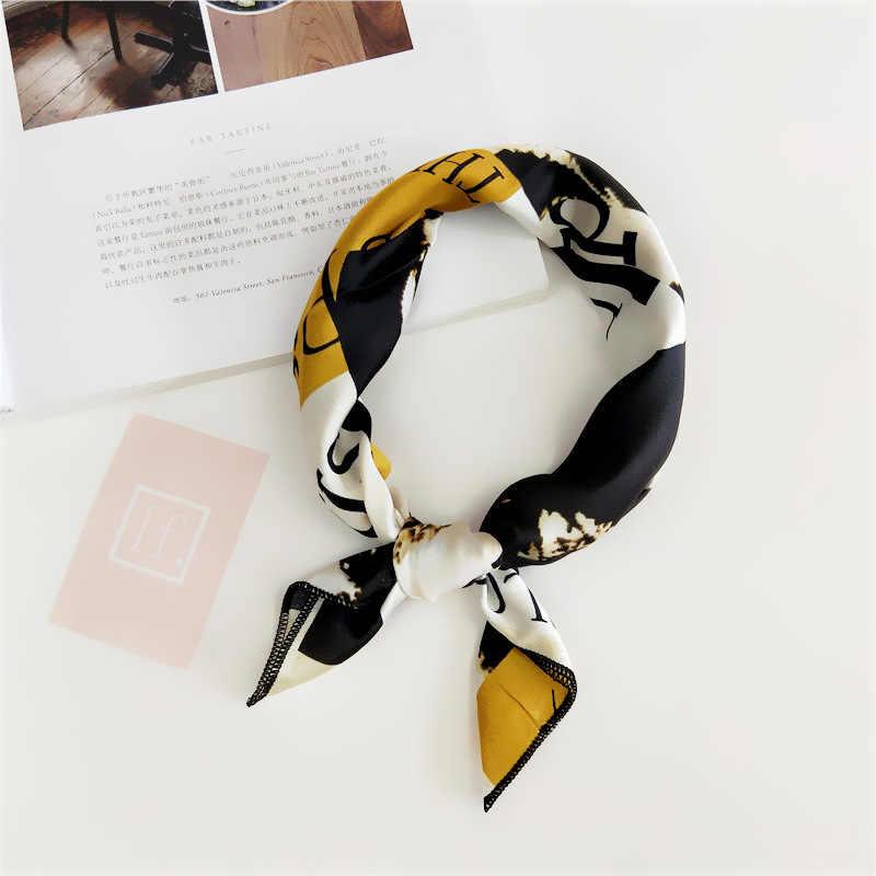 2019 kwadratowy szalik opaska do włosów zespół kobiety elegancki mały Vintage cienki szalik Retro głowa szyi jedwabny szal, kwadratowe chustki foulard