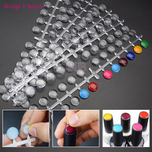 120 Tips Clear Round Nail Tips with Sticker Color Chart Flat Back Display Color Card Chart Nails Art for UV/Gel/Polish Nail Tool