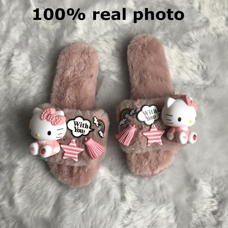 7f6543919 ASILETO cartoon indoor slippers women furry hello kitty cat slippers winter  fluffy cosplay house home slipper slides sapatosT273-in Slippers from Shoes  on ...