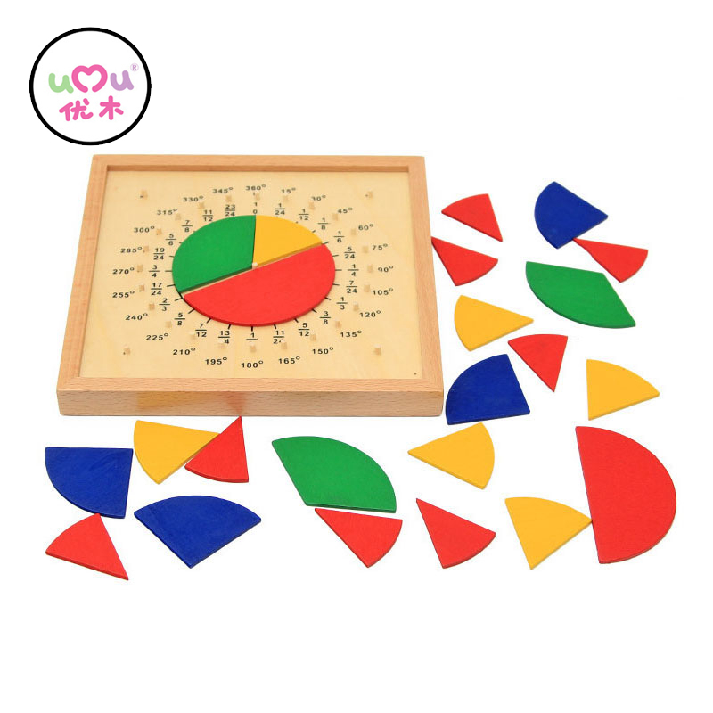 Baby Toys Circular Mathematics Fraction Division Teaching Aids Montessori Board Wooden Toys Educational Gift Math Toy UJ1188H