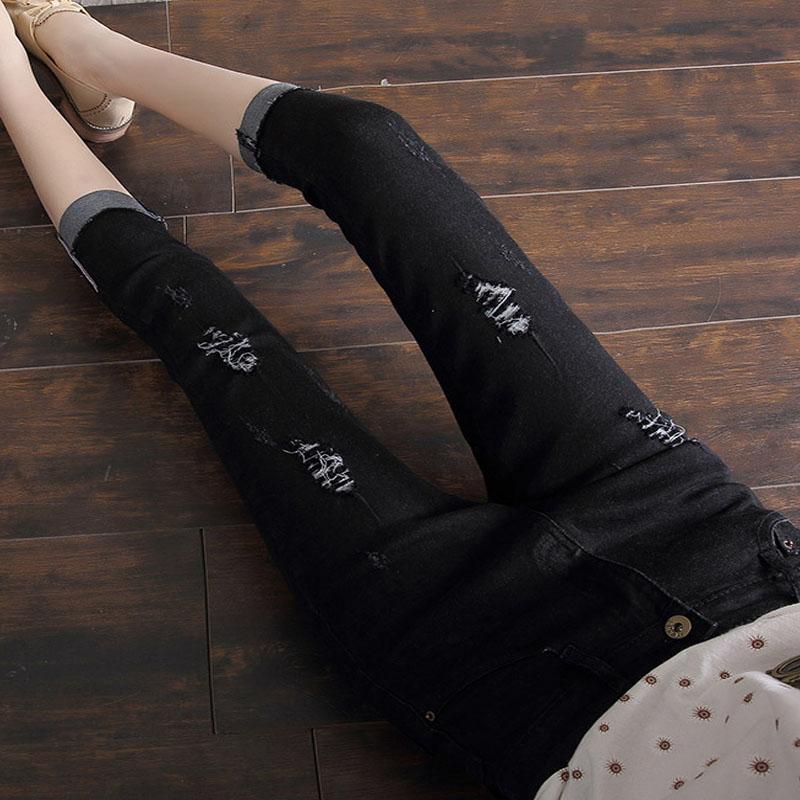 Stretch Woman Summer Capris Denim Jeans Pencil Pants Plus Size Female Skinny Jeans Trousers Ripped Hole Jeans Femme Pantalon D24