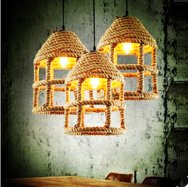 Rope Loft Style Industrial Lamp Lighting Retro Lampe Vintage Pendant Lights Fixtures Hanging Light Lamparas Colgantes america country led pendant light fixtures in style loft industrial lamp for bar balcony handlampen lamparas colgantes