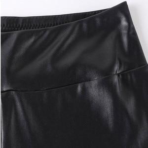 Image 3 - FSDKFAA 2018 женские леггинсы с завышенной талией из искусственной кожи, черные женские атласные штаны со змеиным принтом