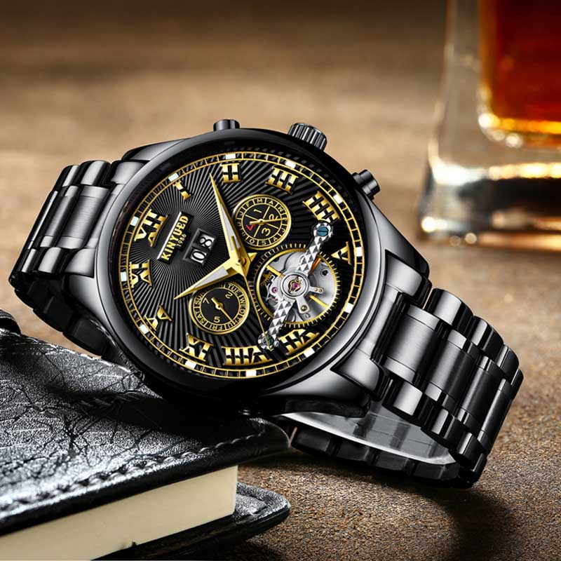 KINYUED Military Business Watches Men Brand Luxury Tourbillon Automatic Mechanical Wristwatch Perpetual Calendar Reloj Hombre 2015 new masculino fashion luxury brand jaragar mechanical men watches tachymeter tourbillon automatic date dial reloj hombre