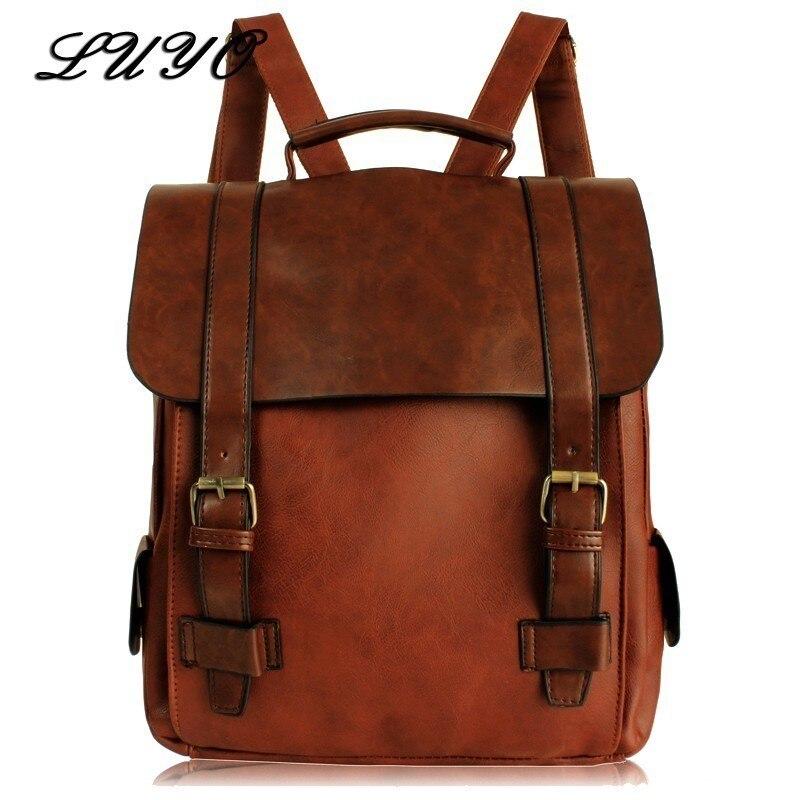 2019 Fashion Women Leather School Vintage Backpack Men Small Schoolbag Mochila Feminina Brown Black Backpacks Sac A Dos Bagpack