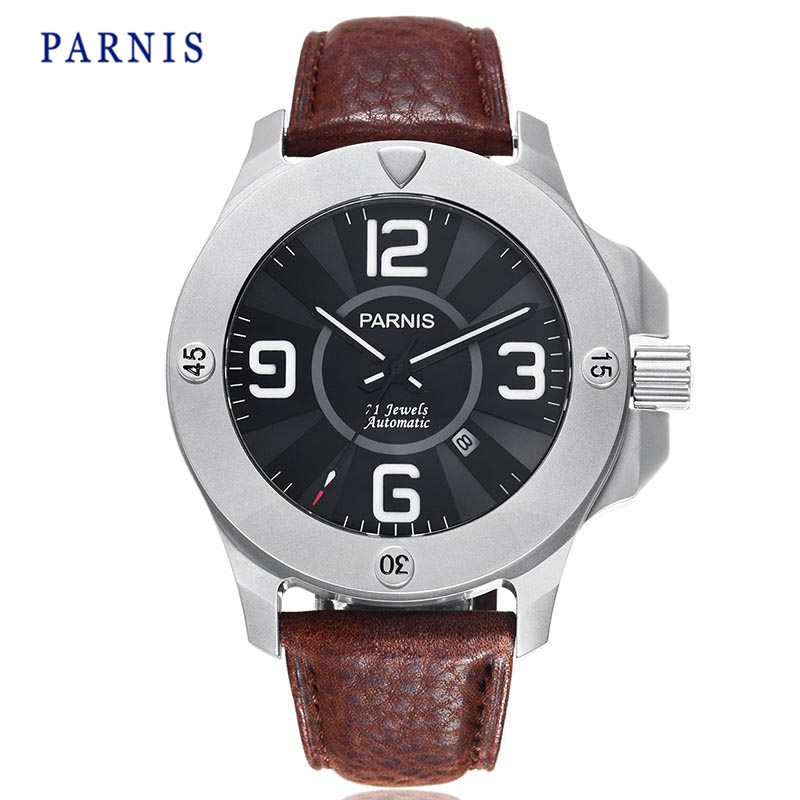 47mm Parnis Watch Sapphire Crystal Men Automatic Wristwatch Black Dial Stainless Steel case Brown Genuine Leather