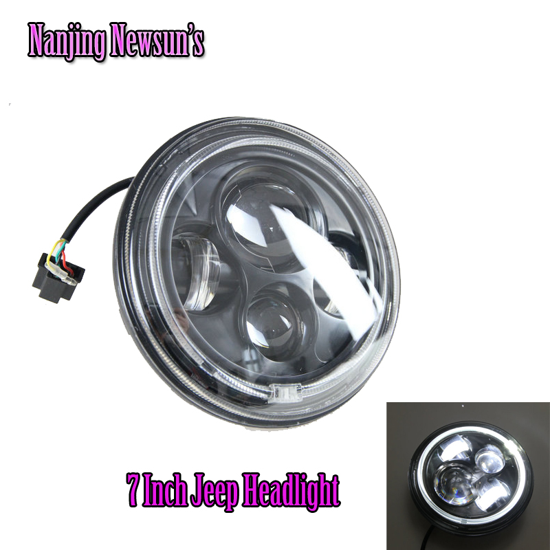 7 Round 40W Led Headlight For Jeep Wrangler 10W*4 Offroad 4x4 Use Motorcycle High Low Hi/Lo Beam With Angel Eyes Waterproof 24V 2pcs 7inch 85w 75w cree led headlight for truck offroad with hi lo beam replacement kit for motorcycle jeep wrangler