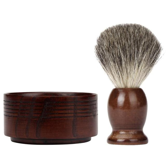 FashionStory  Badger Hair Shaving Brush Natural Wood Mug Bowl Hand Made Soap Barber Set dr22