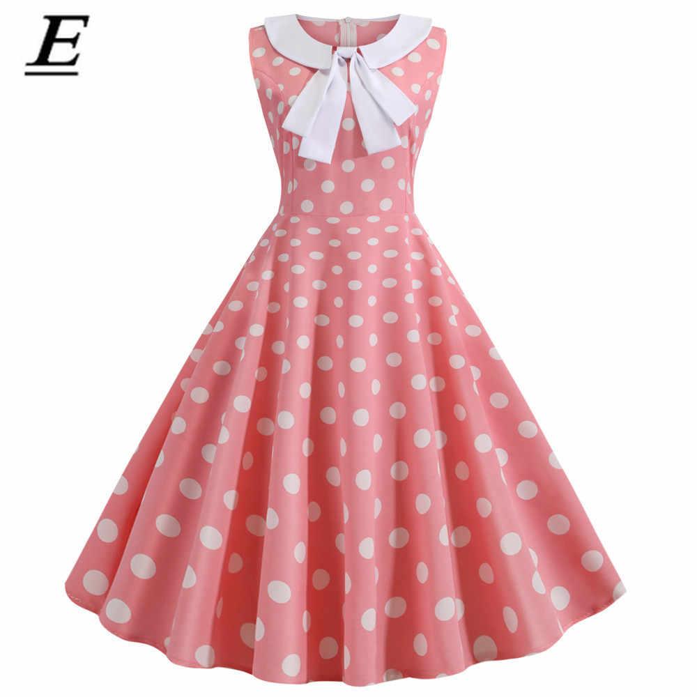 Czerwony Polka Dot drukowane sukienka w stylu Vintage kobiety 2019 lato Retro Slim Peter Pan kołnierz Pin Up Rockabilly sukienka na imprezę szata Vestidos