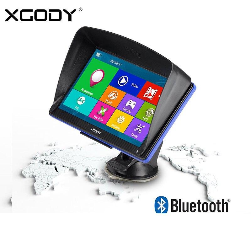 Xgody 7 car navigator navegação gps do carro caminhão navigator tela de toque sat nav bluetooth retrovisor câmera janela ce sistema android opcional