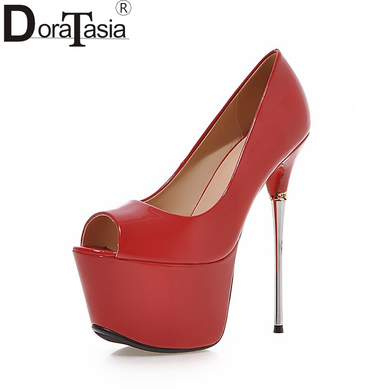 DoraTasia New Big Size 32-43 Peep Toe Summer Party Shoes Women 7 Colors Sexy 16cm Thin High Heels Fashion Red Pumps Shoes odetina 2018 fashion women super high heels platform pumps stilettos peep toe extreme high heels 16cm party shoes big size 31 48