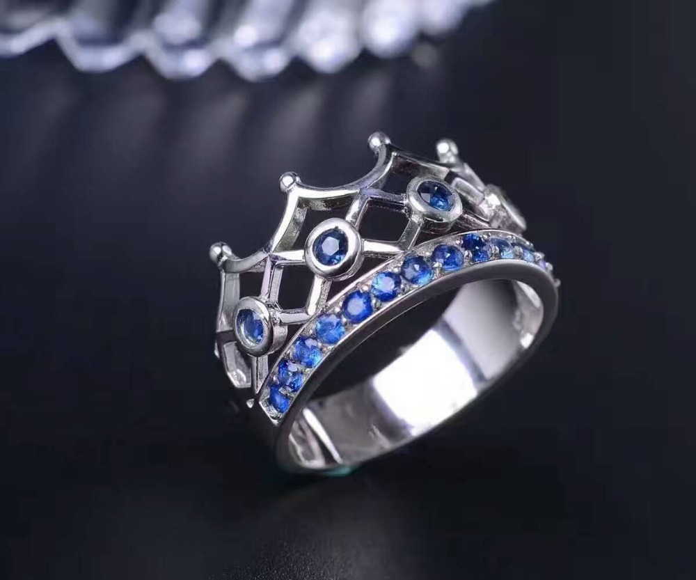 Natural blue sapphire gem Ring Natural gemstone ring S925 sterling silver trendy Elegant Crown women girl party fine Jewelry