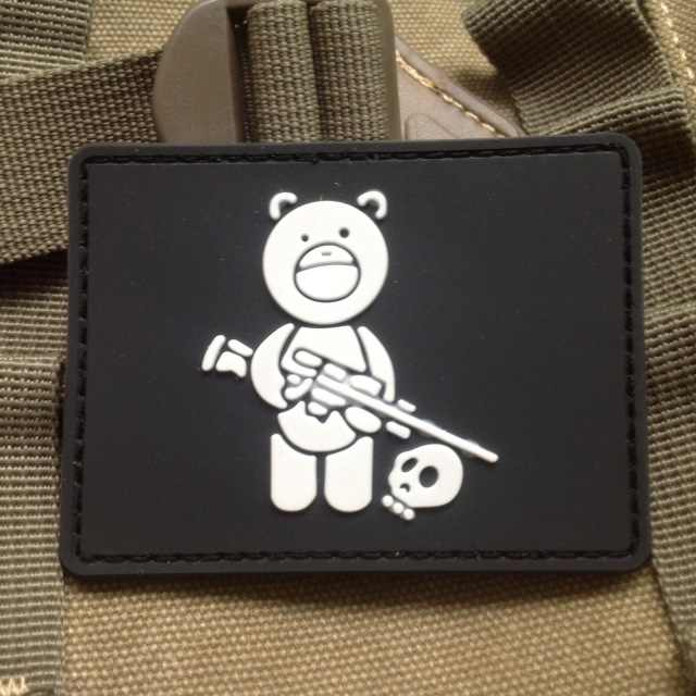 Black Bear Sniper Pemburu Tengkorak Taktis Army Moral Patch Karet Sniper Beruang Logo Paintball Airsoft Patch Lencana