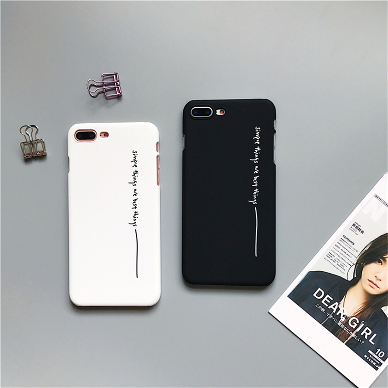 27da7d046e181 US $0.56 30% OFF|Black White Couples Phone Cases For iphone 7 Case letter  Simple Things Are The Best Things case For iphone 7 Plus 5 6S 8 Plus X-in  ...