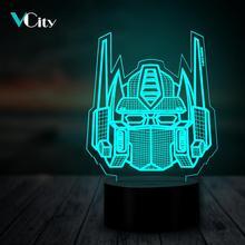 VCity Transformers 3D Night Light Multicolor Cool Optimus Prime Lighting Home Decorative USB LED Bedroom Table