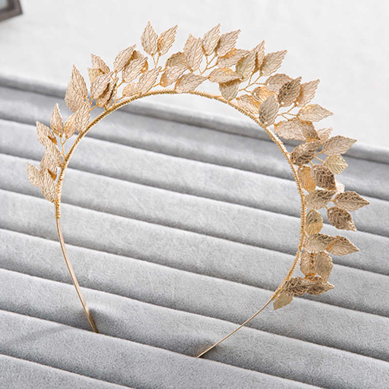 Vintage Handmade Gold Leaf Hairband For Women tiara Wedding Headdress Hair Accessories Bridal Forehead Hair Jewelry headpiece