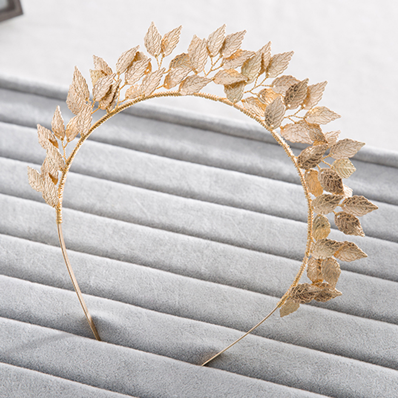 Vintage Handmade Gold Leaf Hairband For Women tiara Wedding Headdress Hair Accessories Bridal Forehead Hair Jewelry headpiece free shipping star products feather accessories bridal headdress korean bridal hair accessories wedding tiara vintage singer