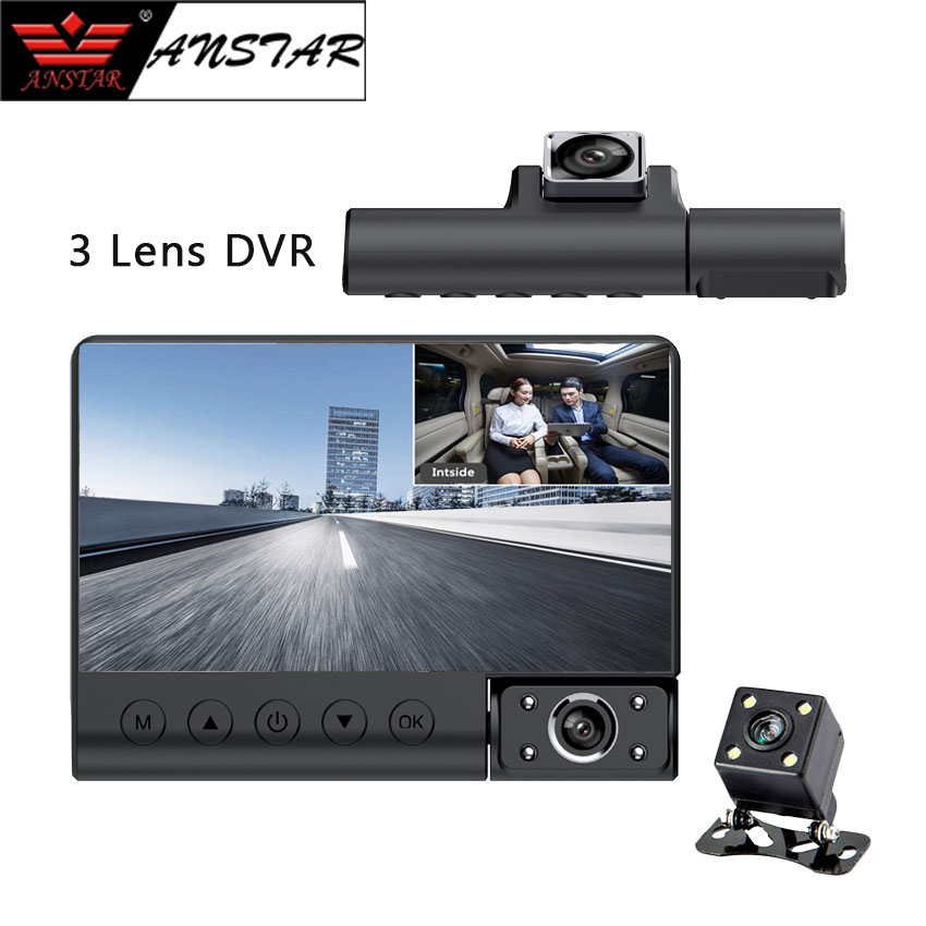 ANSTAR 4 inch Three Lens Car DVR HD 1080P 170 Wide Angle G-Sensor Motion Detection With Rear View Camera Video Recorder Dashcam hidden install wifi car dvr for bmw car low spec e90 e91 e87 e84 hd 1080p 170 wide angle support g sensor motion detection