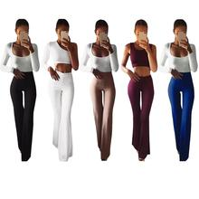 2019 New Women Solid High Waist Flare Wide Leg Chic Trousers Bell Bottom Waisted Cargo Pants Fashion