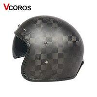 Vcoros capacete da motocicleta Do Vintage 3 K 12 K 24 K de fibra de carbono moto Retro harley capacetes abertos rosto inverno personalidade capacete de Scooter