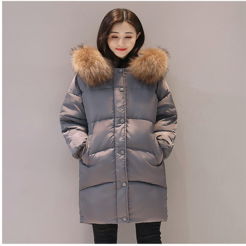 2017 New Fashion Winter Coat Casual Female Students Wear Loose Fur Collar Hooded Bread Cotton Padded Parkas Female Warm Outwears big fur 2017 new fashion parkas winter jacket hooded fur collar warm cotton padded inside fur thick coat loose female outwears