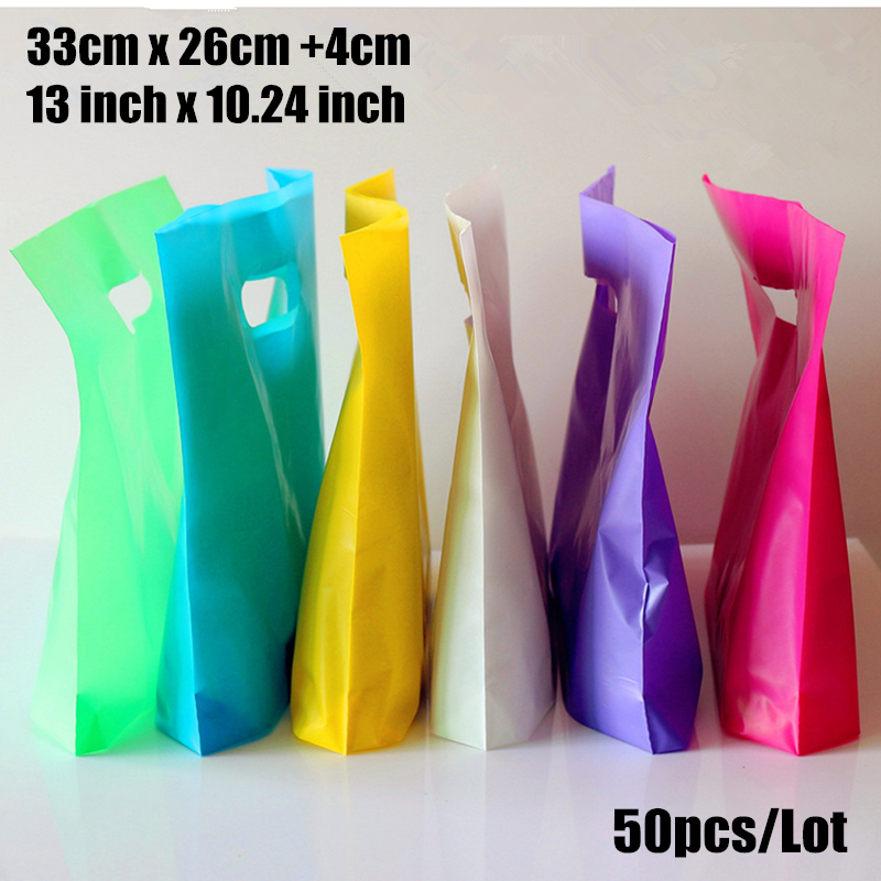 50pcs/lot 33*26+4cm(13*10.24) custom gift bags Plastic Shopping Bags wholesale with Handle promotion Packing Bag Plastic
