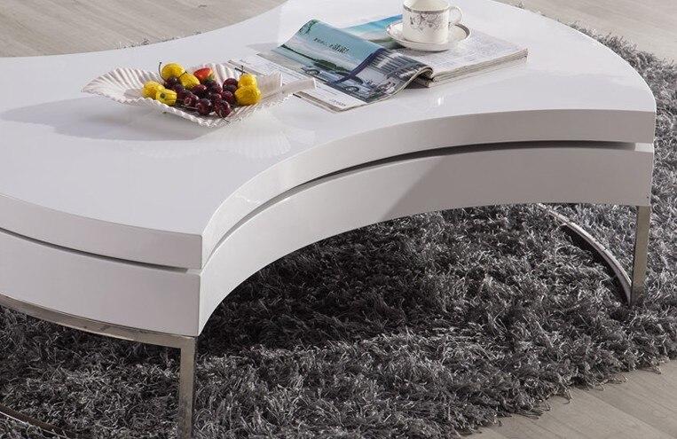 Table basse/Table à Thé, Design moderne, MDF + Spéculaire Peinture support en acier Inoxydable, peut Tourner avec de stockage Table ronde 4G-068 # - 6