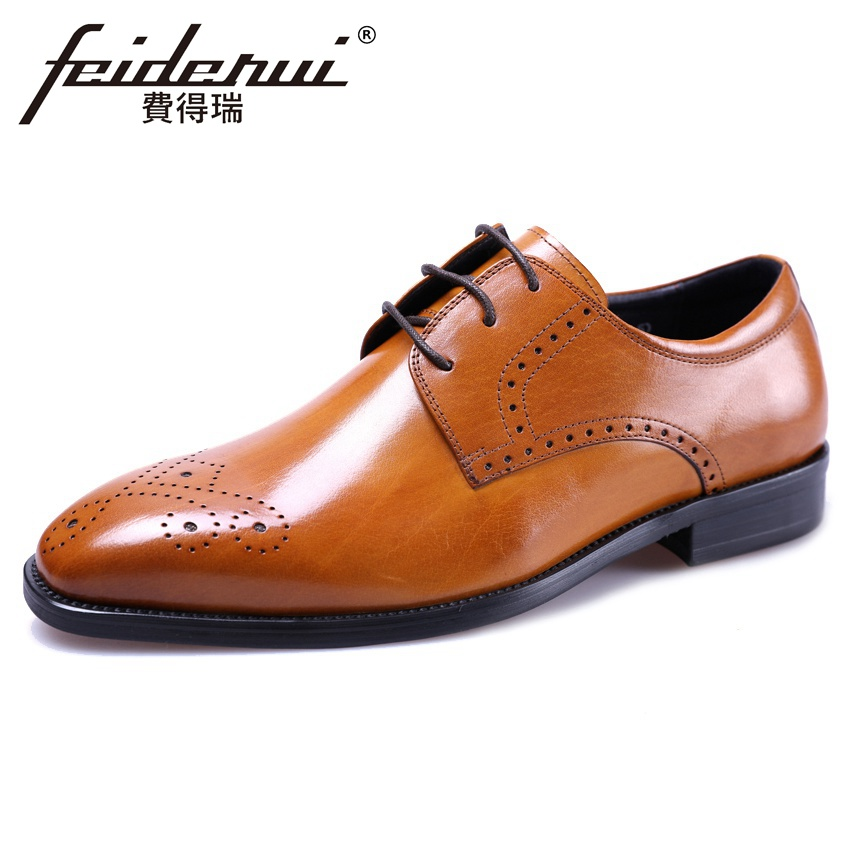 Summer Designer Medallion Handmade Mens Derby Formal Dress Footwear Genuine Leather Round Toe Lace-up Man Brogue Shoes YMX523Summer Designer Medallion Handmade Mens Derby Formal Dress Footwear Genuine Leather Round Toe Lace-up Man Brogue Shoes YMX523