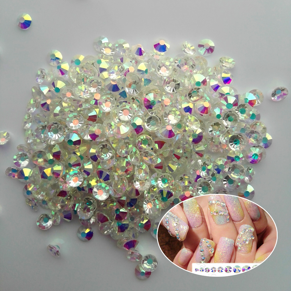2058NoHF Барлық Өлшемдері анықталмаған AB Strass3D DIY Rhinestones Nail Rhinestoens Nails Crystal Nail Art Decoration Gems