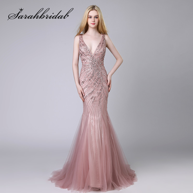 Youthful Mermaid Evening Dresses Tulle Sleeveless Deep V-neck Crystal Beading Mauve  Zipper Floor Length Prom Party Gowns CC424
