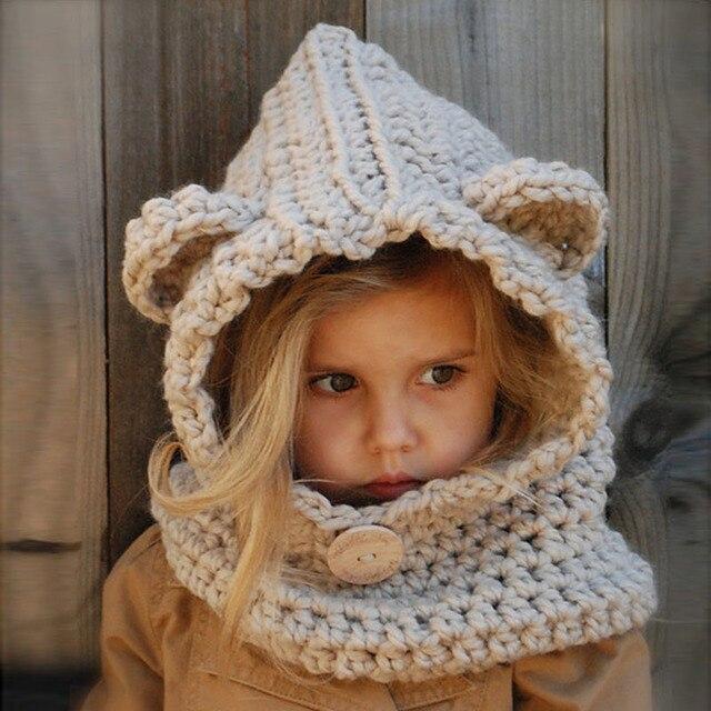 Handmade Winter Hat Girl Cute Bear Hooded Cowl Beanie and Scarf Set for Baby  Girls Boys e64ecfff8a17