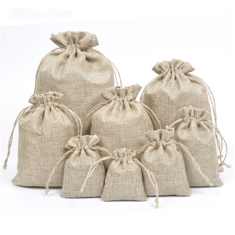 50 Pcs Mini Linen Jute Drawstring Gift Bags Pouch Wedding Party Favor Sacks Bag