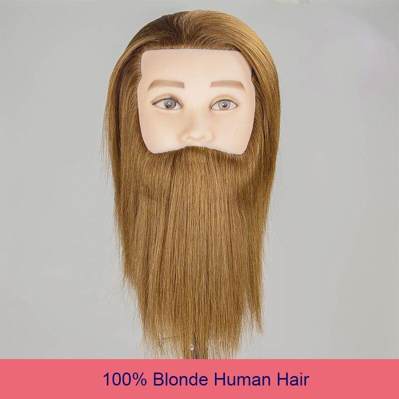 100% Человеческие волосы мужской манекен голова светлые волосы Учебные головы-манекены парикмахерских манекен Практика Обучение манекен го...