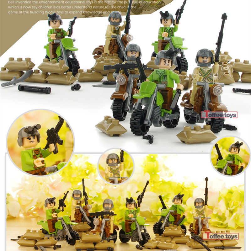 Ghost Knight Military SWAT World War 2 Army Gun Weapon Soldier Building Blocks Bricks Figures Boy Educational Toy Children Gift