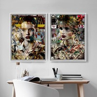Pop Art Modern Fashion Model Portrait Posters And Prints Canvas Art Wall Home Decor Nordic Poster