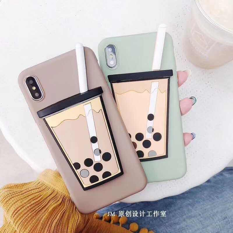 Korea 3D Bubble Tea Phone Case for iPhone XS MAX XR Fundas Matte Soft Silicone TPU Back Cover for iPhone X 8 7 6S 6 Plus  Cases